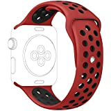 Apple Watch Series 2 Nike Sport Band, UMTELE Soft Silicone Replacement Strap with Ventilation Holes for Apple...
