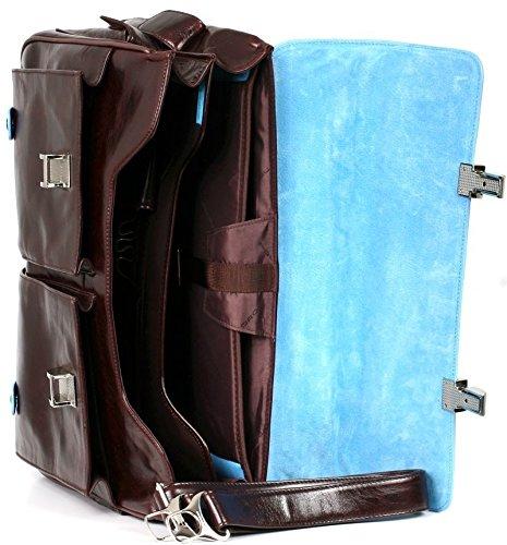PIQUADRO BLUE SQUARE Cartella Porta PC e documenti in Vera Pelle Mogano CA1068B2/MO