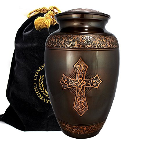 Love of Christ Antique Golden Brushed Bronze Burial or Funeral Adult Cremation Urn for Human Ashes - 100% Brass -Large, Adult by Commemorative Cremation Urns (Image #3)