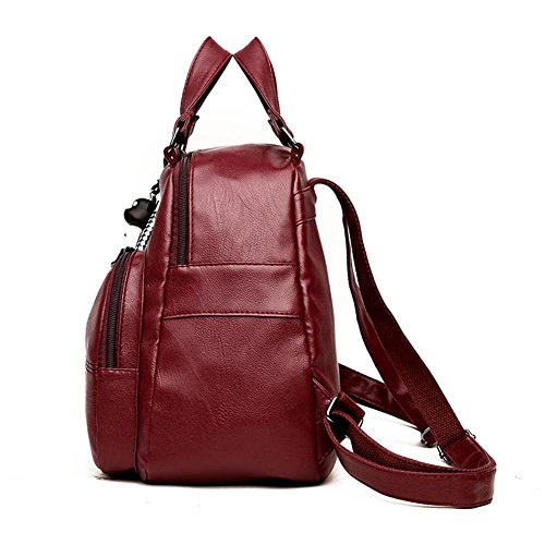 Girl Domybest Backpacks PU Bags Travel Shoulder School Women Rucksack Red Handbag Leather Wine Teenage C6B8SCxq