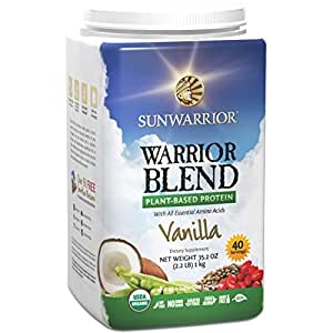 Sun Warrior Warrior Blend Raw Plant-Based Complete Protein Powder ~ Vanilla ~ 2.2 lbs Bag