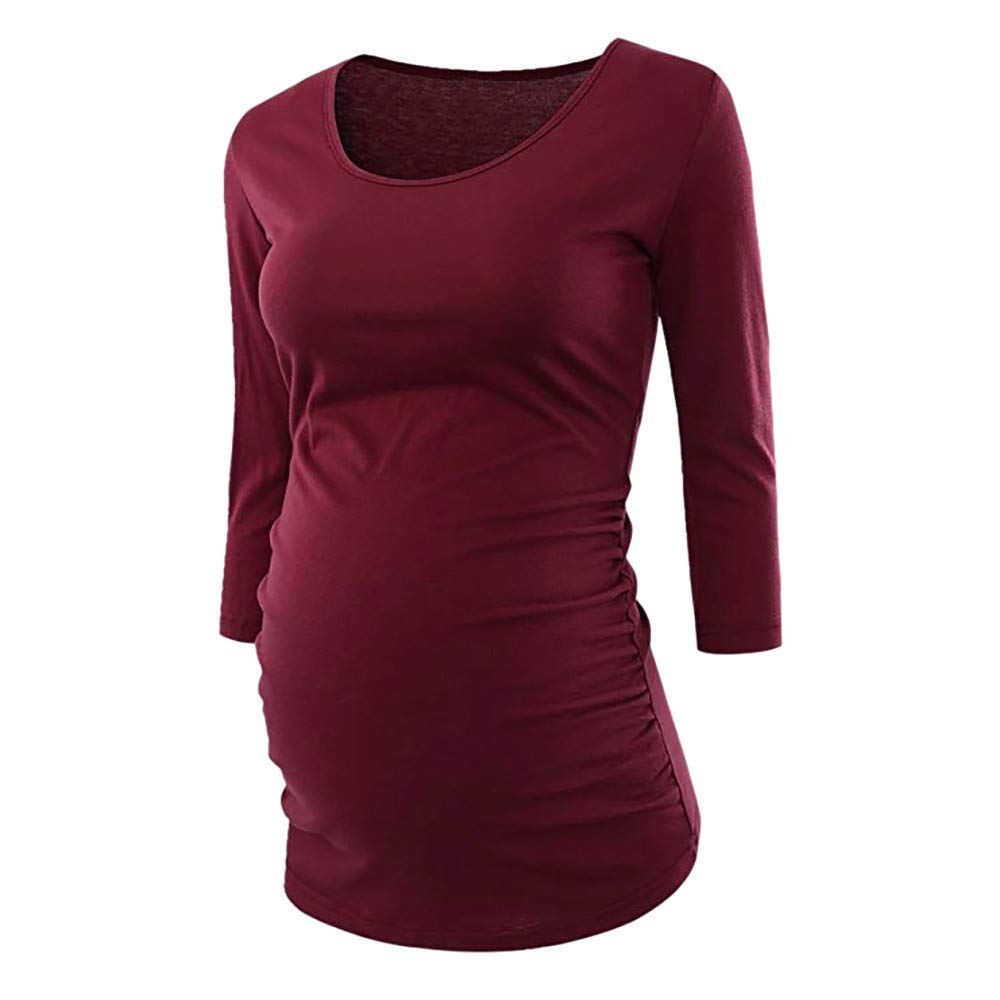 Women Maternity Clothes, Autumn Winter Warm 3/4 Sleeve Side Ruched Pregnancy Tops Plus Size Blouse Leewos LMM18851