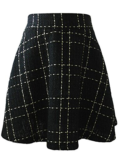 Tanming Women's Elastic Waist A-Line Pleated Mini Plaid Wool Skirt (Large, (Elastic Waist Wool Skirt)