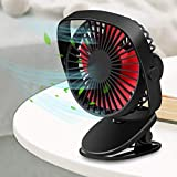 Arsiperd Mini Powerful Rechargeable Battery Operated Clip on Fan, Portable USB Baby Stroller Fan, 3 Speeds Fast Quiet Sturdy Clamp Desk Table Fan for Kids Girls Woman Gym Treadmill Office Travel