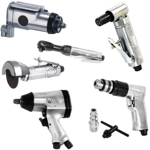 6p Air Tool Set 3/8 Butterfly 1/2 Impact Angle Die Grinder Drill Ratchet Cut Off ()