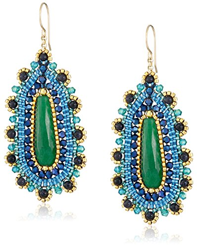 Miguel Ases Blue Gold Stone and Green Jade Teardrop Earrings