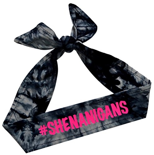 Funny Girl Designs Tie Back Sport Headband with Your Custom Team Name or Text in Vinyl (Black TIE DYE, 1 -