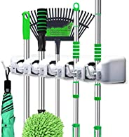 Mop and Broom Holder, Wall Mounted Garden Tool Organizer, Ideal Broom Hanger Tool Rack Storage for Kitchen, Ga