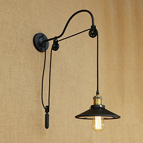 Line Black Tungsten Double (T-ZBDZ Bedroom Wall lamp Adjustable line Length Bedroom Wrought Iron Wall lamp with Tungsten Light Bulb, Original B20J)