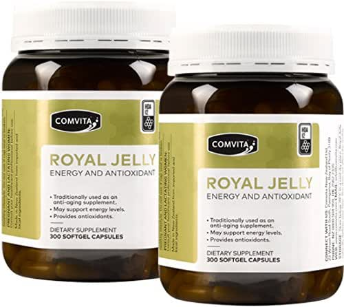 Comvita Royal Jelly 300 Capsules 1000mg Fresh Royal Jelly With 12mg 10H2DA (Pack of 2)