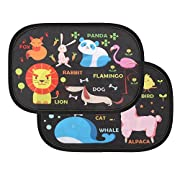 Intipal Pack of 2 Baby Car Window Sunshade - Auto Static Cling Sun shades Protector to Block Damaging UV Rays & Bright Sunlight & Heat for Kids,Best Auto Accessories for Side Window(Animal World)