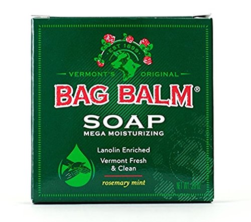 Bag Balm Bar Soap, Mega Moisturizing, Rosemary Mint, 3.9oz Per Bar (6 Pack) made in New England