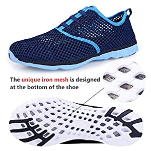 Water Shoes for Women Quick Drying Aqua Shoes Beach Pool Shoes Athletic Sport Lightweight Walking Shoes Mesh Slip On (Dark Blue)