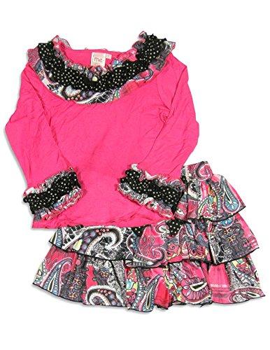Skirt Girls Lipstik - Me Me Me by Lipstik - Little Girls's Long Sleeve Paisley Skirt Set, Fucshia, Black 24488-4