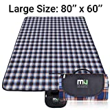 MIU COLOR Large Waterproof Outdoor Picnic Blanket, Sandproof and Waterproof Picnic Blanket Tote for Camping Hiking Grass Travelling (80'' x 60'' White + Blue Plaid (Fleece Top))