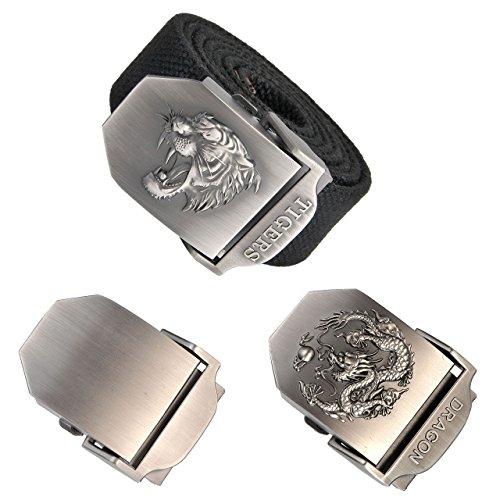 Ayliss Men Military Thicken Canvas Web Belt,Separate Interchangable Metal Buckle (Tiger Black Belt&2 Change (Tiger Buckle)