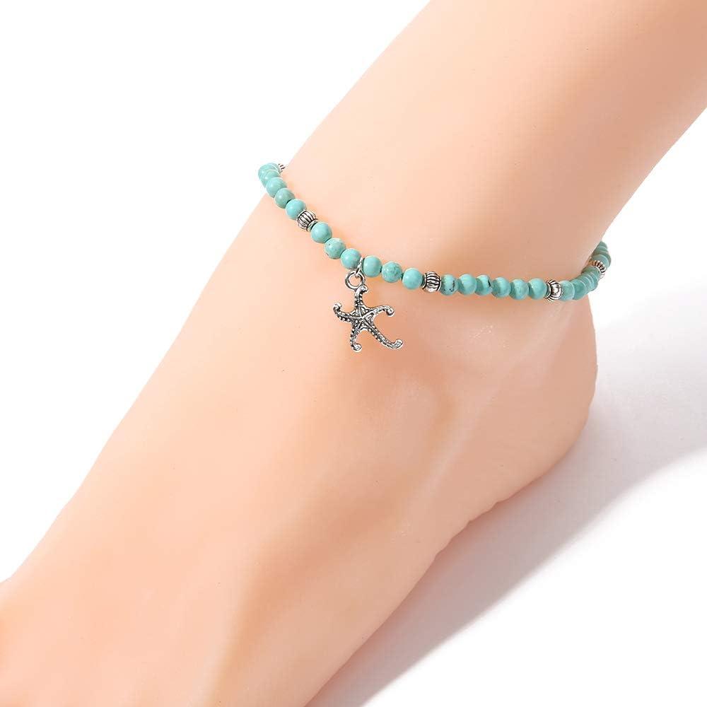BALIBALI 4MM Mini Gemstone High Energy Chakra Psychic Anklet Handmade Dainty Bead Anklet for Womens Girls