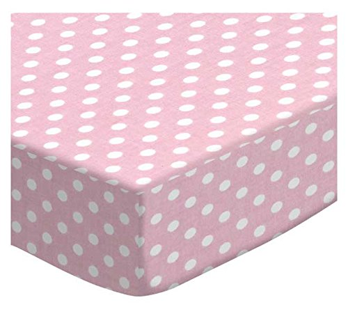 SheetWorld-Fitted-Stroller-Bassinet-Sheet-Pastel-Pink-Polka-Dots-Woven-Made-In-USA
