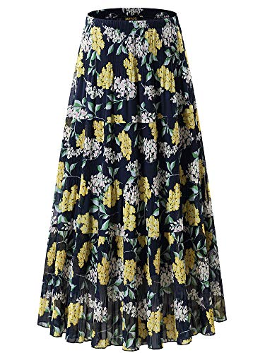 NASHALYLY Women's Chiffon Elastic High Waist Pleated A-Line Flared Maxi Skirts (L, Flower-24)