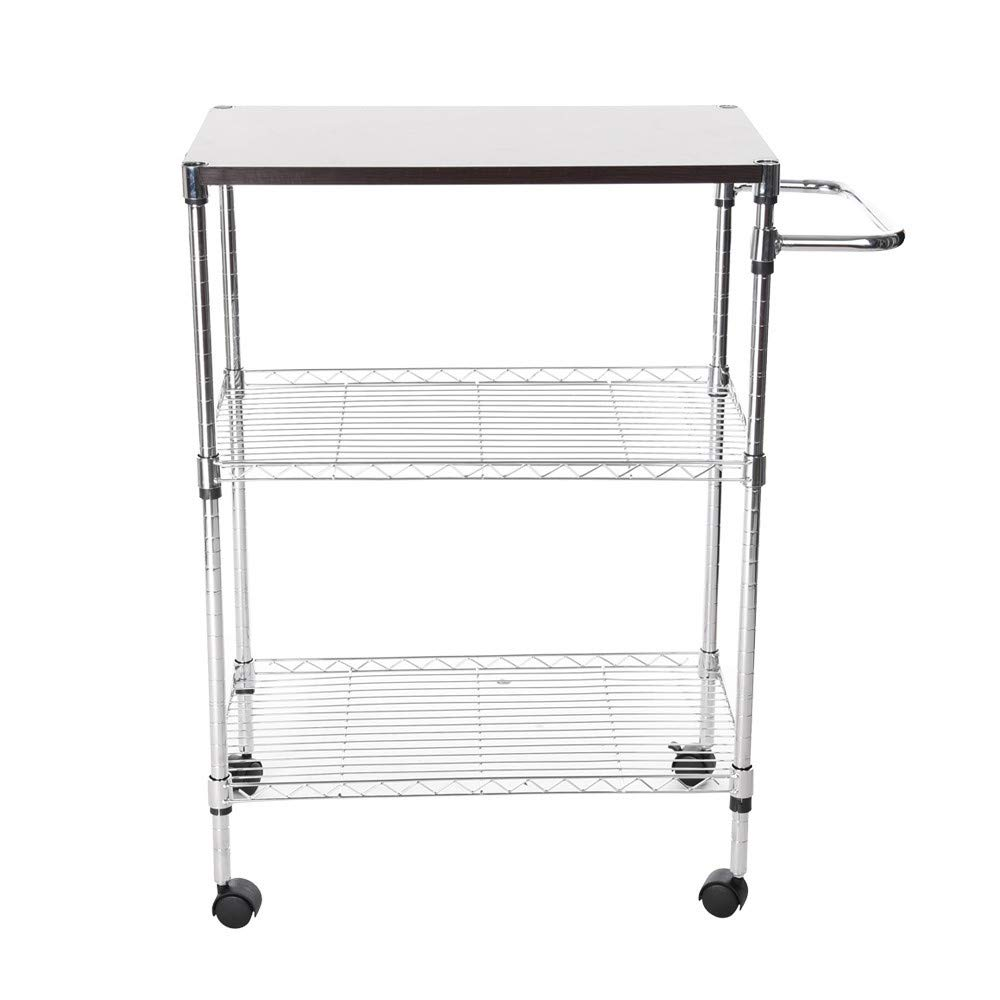 ChainSee 3 Tier Multi-Function Storage Rack, Microwave Stand Kitchen Oven Rack with Wheeled Wooden Cart, Kitchen Supplies Storage Rack by ChainSee (Image #6)