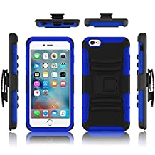 iPhone 6 case, Febe iPhone 6 Dual Layer Kickstand Case, Shockproof Hybrid Rugged Hard Soft Ultra Slim Fit Belt Clip Hostler Cover Case for iPhone 6 4.7 Inch - Blue