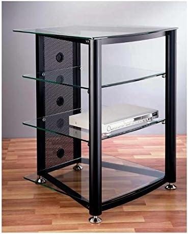 VTI RGR-404 4 Shelf Black Audio Rack – Black Poles Tinted Black Glass
