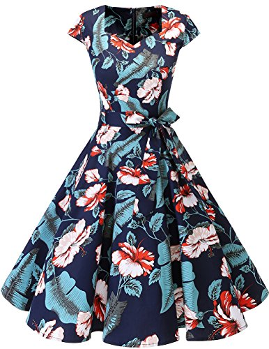 DRESSTELLS Retro 1950s Cocktail Dresses Vintage Swing Dress with Cap-Sleeves Navy Flower XL