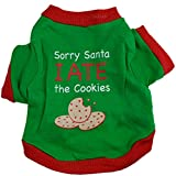Minisoya Fashion Christmas Puppy Dog Clothes Pet Cookies Letters Printed Shirt Doggy Costume (Green, S)