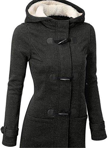 Blansdi Femme Manteaux  Capuche Gilet Bouton pais Blouson Hiver Hoodie Veste Jacket Casual Outwear Coat Fleece Manteau Gris Fonc