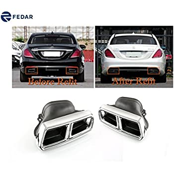 Fedar Stainless Steel Exhaust Pipe/Tip for Mercedes-Benz W212/W222/W205/R231/C217 (Not for E550/S550)