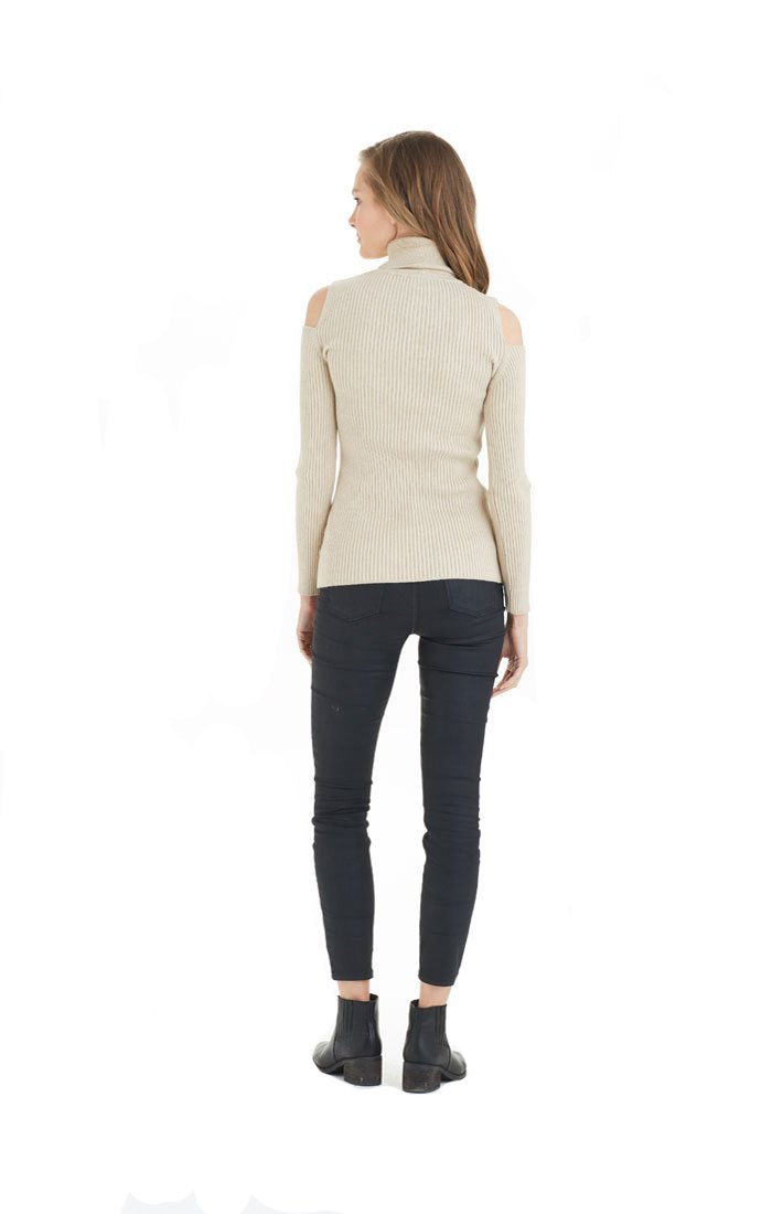 Love Token Sara Cold Shoulder Sweater - LT10-74 (Small, Beige) by Love Token (Image #2)