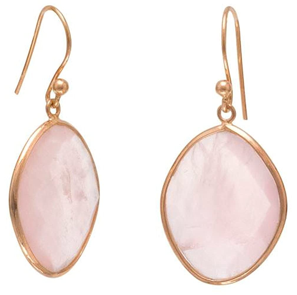 1-3//8 inch 15x20mm Rose Quartz 14K Rose Gold Plated Sterling Silver French Wire Earrings
