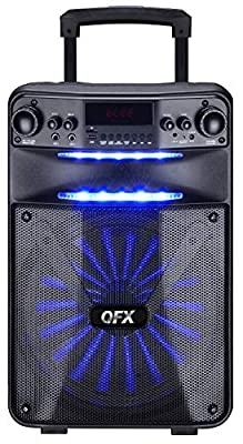 "QFX PBX-115 15"" Rechargeable Smart App Controlled Portable Party Speaker with Wired Microphone"