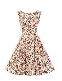 Ensnovo Womens Vintage 1950s Sleeveless Retro Floral Print Rockabilly Swing Dress