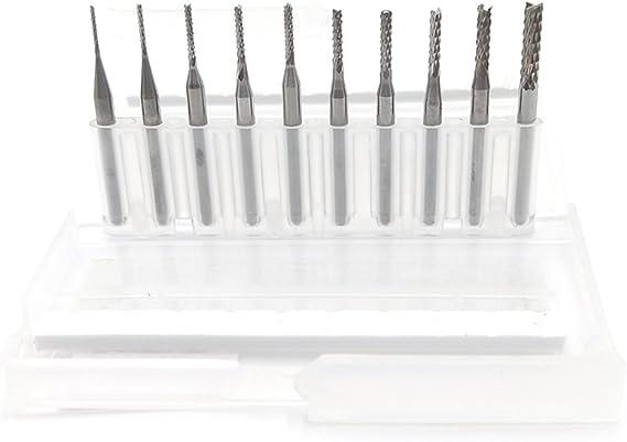 10pcs 0.8mm-3.0mm PCB Milling Drill Bit Mill Slot Cutter Carving Drilling Tools