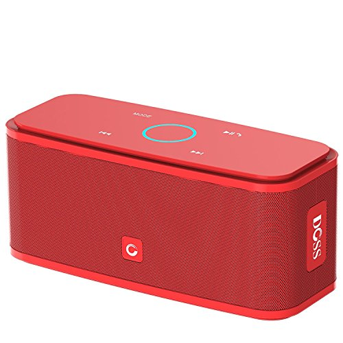 """DOSS SoundBox Bluetooth Speaker, Portable Wireless Bluetooth 4.0 Touch Speakers with 12W HD Sound and Bold Bass, Handsfree, 12H Playtime for Phone, Tablet, TV, Gift Ideas[Red]"""