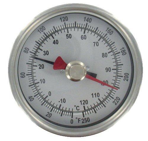 Dwyer® Max/Min Bimetal Thermometer, BTM34010D, 0-200°F (-20-90°C), 4'' Stem