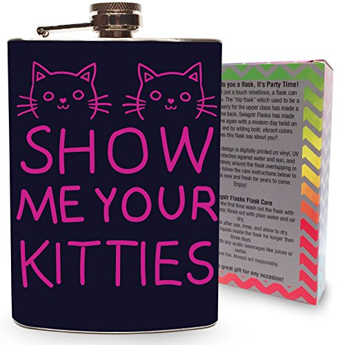 Show Me Your Kitties Pink Stainless Steel 8oz Flask Whiskey Vodka Tequila Drinking Flasks Game Games Cat Cats Kittens Dad - Designer Flask