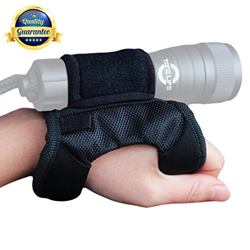 Tonelife Neoprene Goodman Style Glove 03 Universal Adjustable Hand and Arm Torch Holder Soft Hand Mount for Scuba Dive Lights Led Flashlight Hand Free Diving Accessory Max Diameter 4cm 1.6inch ()