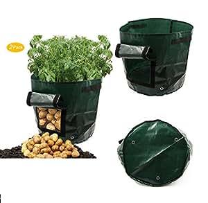 ASOON - Bolsa de cultivo para plantar patatas, verduras, 26,4 litros de capacidad, 2 unidades