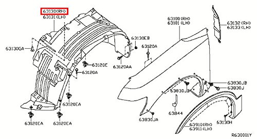 Front Fender Protectors (Infiniti Genuine Body Fitting Front Fender Right Protector 63830-ZQ10A QX56)