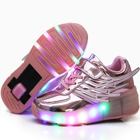 Ehauuo Unisex Lighted Shoes Skate Shoes for Girls Roller Shoes for Boys Kids LED Light up Wheel Shoes Flashing Sneakers for Gift(13 M US Little Kid, A-Pink) ()