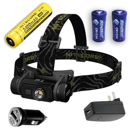 Nitecore HC60 Rechargeable LED Headlamp 1000 Lumens with Eco-Sensa Premium Lithium CR123A batteries & Car & Wall Adapter