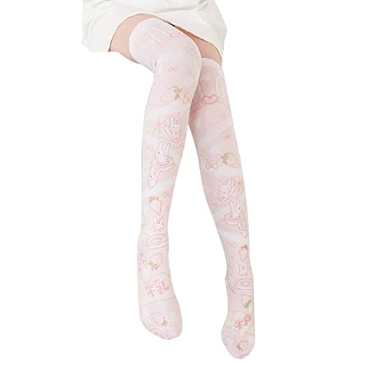 7177c5cb71b Image Unavailable. Image not available for. Color  YOMORIO Cute Pink  Strawberry Thigh High Socks Lolita Japanese Anime Bunny Striped Over Knee  Stockings