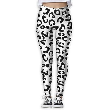 f3ca18eb547 Black and White Leopard Print Women's Full-Length Sports Running ...
