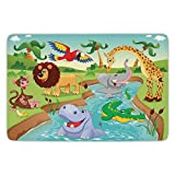 Bathroom Bath Rug Kitchen Floor Mat Carpet,Kids Decor,Cartoon Safari African Animals Swimming in the Lake Elephant Lions And Giraffe Art,Multi,Flannel Microfiber Non-slip Soft Absorbent
