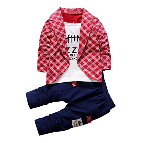 DaySeventh Boys Handsome Outfit Clothes Checked Vest Tie Shirt Long Tops Pants 1Set (2 Years, Wine), 90 -