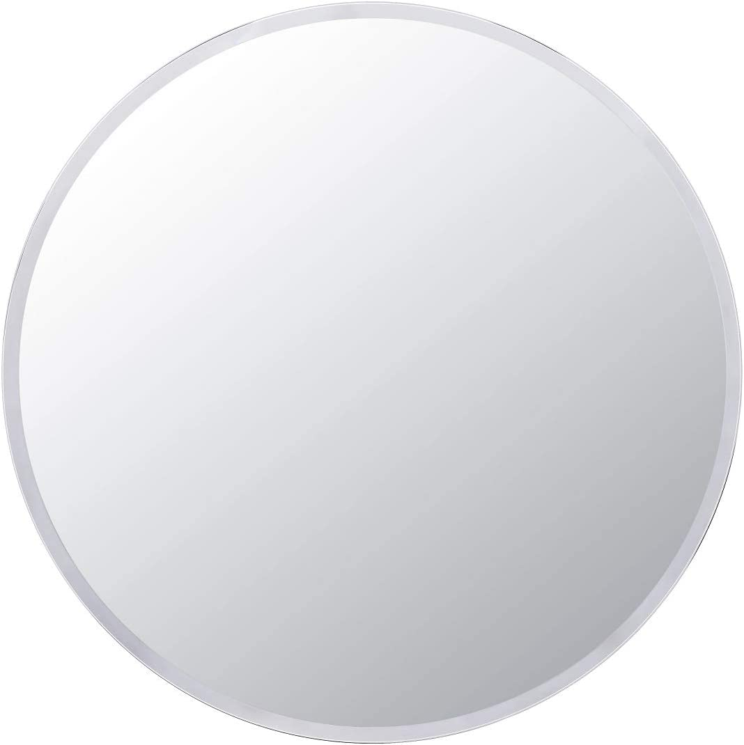 Villacola 36-Inch Frameless Round Wall Mirror, Decorative Beveled Edge Bathroom Circle Mirror for Entryway, Washroom, Living Room and More