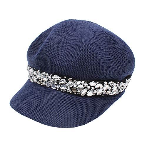 Grey sboy Rhinestone Elegant Beret Adjustable Artistic Casual Spring Summer Baker Boy Cap,Navy Blue,56-58cm]()