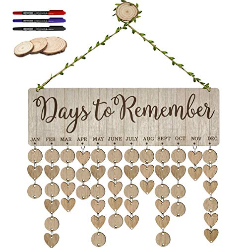 ElekFX Family Birthday Calendar Plaque Wooden Hanging Board Days to Remember for Important Days Notes DIY Creative Birthday Gift
